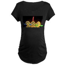 Bitcoin Tron Design Gold Maternity T-Shirt