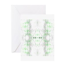 Distressed Green White Argyle Greeting Cards