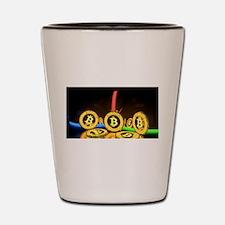 Bitcoin Tron Design Gold Shot Glass