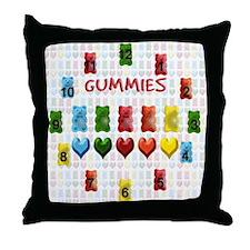 Gummy Bears, Jelly Hearts Throw Pillow