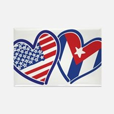 USA and Cuba Patriotic Flag Heart Rectangle Magnet