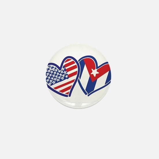 USA and Cuba Patriotic Flag Hearts Mini Button