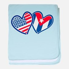 USA and Cuba Patriotic Flag Hearts baby blanket