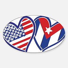 USA and Cuba Patriotic Flag Hearts Decal