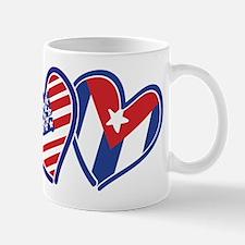 USA and Cuba Patriotic Flag Hearts Mug