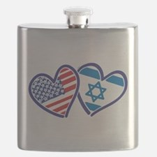 USA and Israel Flag Hearts Flask
