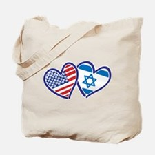 USA and Israel Flag Hearts Tote Bag