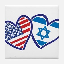 USA and Israel Flag Hearts Tile Coaster