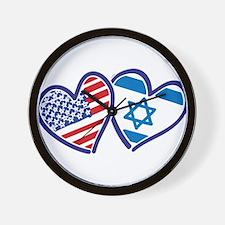 USA and Israel Flag Hearts Wall Clock