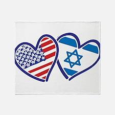 USA and Israel Flag Hearts Throw Blanket