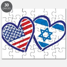 USA and Israel Flag Hearts Puzzle