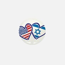 USA and Israel Flag Hearts Mini Button