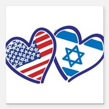 """USA and Israel Flag Hear Square Car Magnet 3"""" x 3"""""""