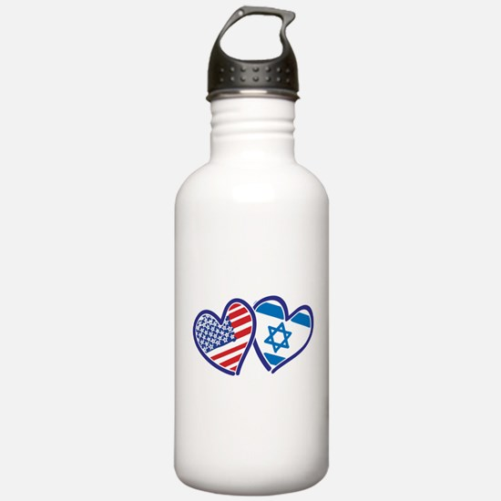 USA and Israel Flag He Water Bottle