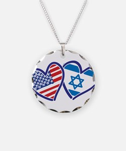 USA and Israel Flag Hearts Necklace
