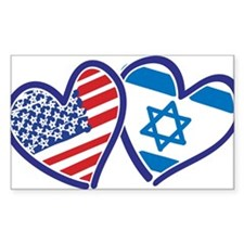 USA and Israel Flag Hearts Decal