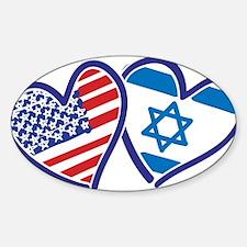 USA and Israel Flag Hearts Decal