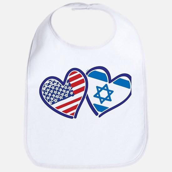 USA and Israel Flag Hearts Bib