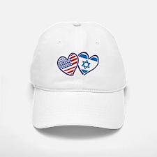 USA and Israel Flag Hearts Baseball Baseball Cap