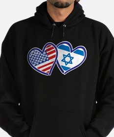 USA and Israel Flag Hearts Hoodie (dark)