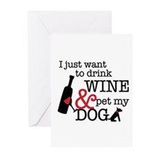 Wine and Dog Greeting Cards (Pk of 20)