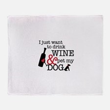 Wine and Dog Throw Blanket