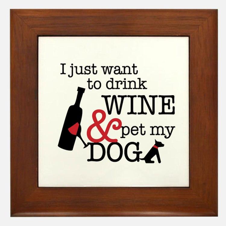 Wine and Dog Framed Tile
