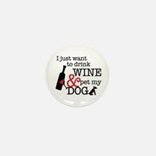 Wine And Dog Mini Button (10 Pack)