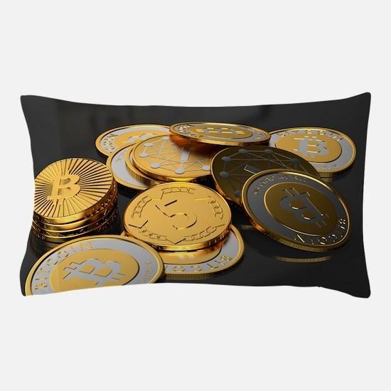 Bitcoins on a table Pillow Case