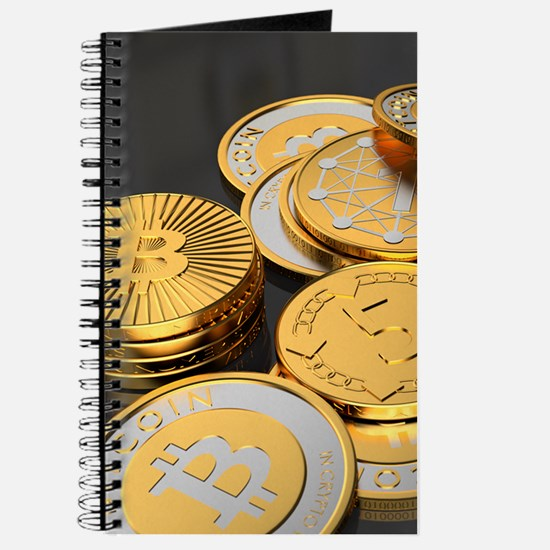 Bitcoins on a table Journal