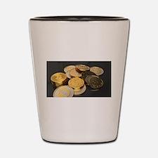Bitcoins on a table Shot Glass