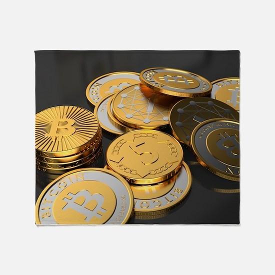 Bitcoins on a table Throw Blanket