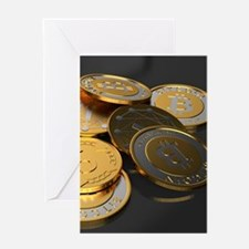 Bitcoins on a table Greeting Cards