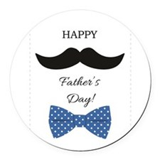 Happy Fathers Day Mustache Blue Polka Dot Bow Tie