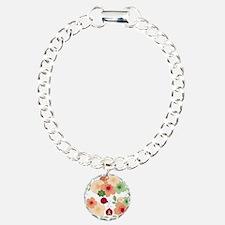 Mod Lady Bugs Flower Garden Bracelet