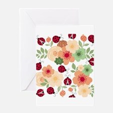 Mod Lady Bugs Flower Garden Greeting Cards