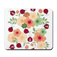 Mod Lady Bugs Flower Garden Mousepad