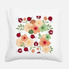 Mod Lady Bugs Flower Garden Square Canvas Pillow