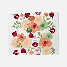 Mod Lady Bugs Flower Garden Throw Blanket