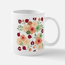 Mod Lady Bugs Flower Garden Mugs