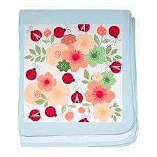 Mod Lady Bugs Flower Garden baby blanket