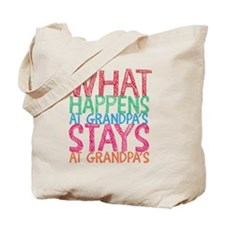 What Happens At Grandpa's Tote Bag