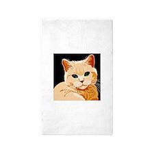 Green Eyed Ginger Tabby Cat Area Rug