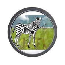 Curly Edge Zebra in the Grasslands Wall Clock