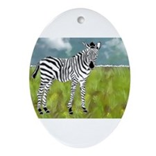 Curly Edge Zebra in the Grasslands Ornament (Oval)