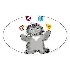 Grey Kitten Juggling Easter Eggs Decal