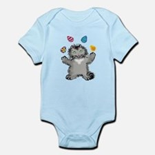 Grey Kitten Juggling Easter Eggs Body Suit