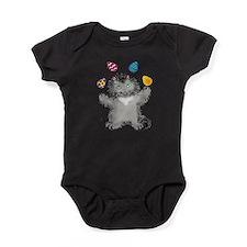 Grey Kitten Juggling Easter Eggs Baby Bodysuit