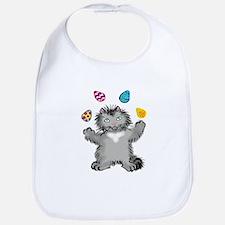 Grey Kitten Juggling Easter Eggs Bib