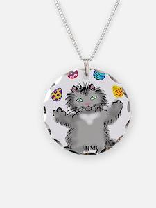 Grey Kitten Juggling Easter Necklace